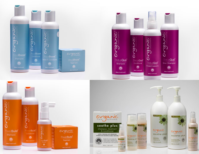 The shampoo, conditioner and hair care ranges available, from top left AquaBoost, StatusQuo, PowerBuild and Soothe Plus